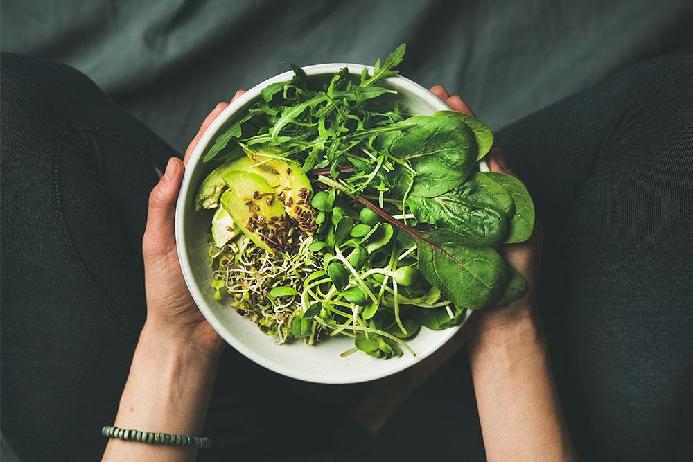folhas na dieta